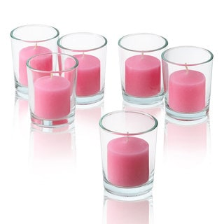 Clear Glass Round Votive Candle Holders with Soft Pink Votive Candles Burn 10 Hours Set Of 12