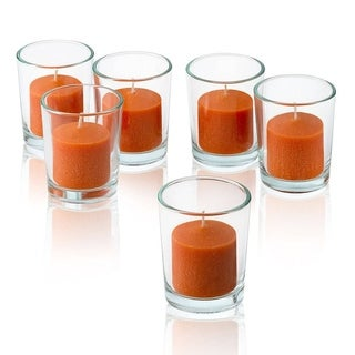 Clear Glass Round Votive Candle Holders with Orange Votive Candles Burn 10 Hours Set Of 12