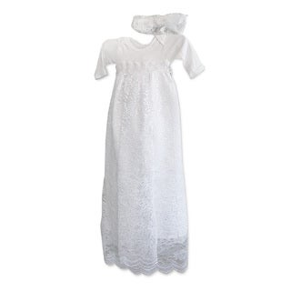 Baby Girl Lace Style Long Christening Gown Set