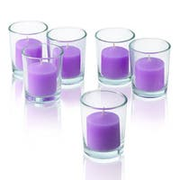 Round Clear Glass Votive Candle Holders with Lavender Votive Candles Burn 10 Hours Set Of 12