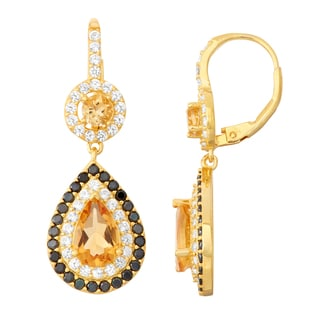 Gioelli Goldplated Citrine, Black Spinel and White Sapphire Double Halo Earrings
