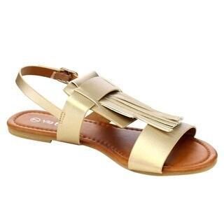 VIA PINKY CAMERON-95 Women's Fringe Deco Ankle Buckle Strap Elastic Flat Heel Sandals