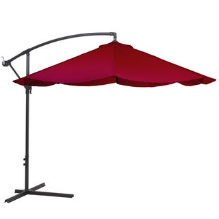 Pure Garden Offset 10-foot Aluminum Hanging Patio Umbrella - Red