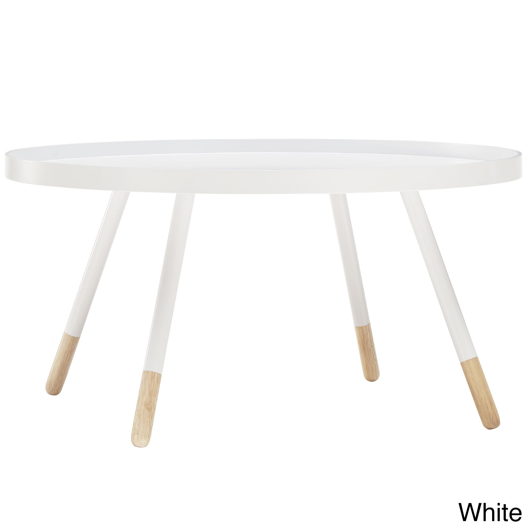 Marcella Paint-dipped Round Spindle Tray Top Coffee Table...