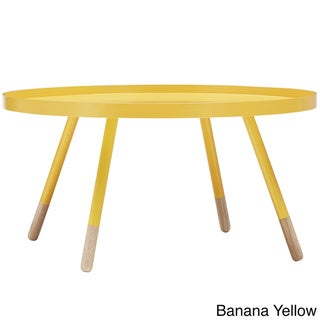 Marcella Paint-dipped Round Spindle Tray Top Coffee Table by MID-CENTURY LIVING