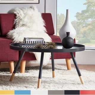 Marcella Paint Dipped Round Spindle Tray Top Coffee Table INSPIRE Q Modern