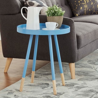 Marcella Paint-dipped Round Spindle Tray-top Side Table by MID-CENTURY LIVING