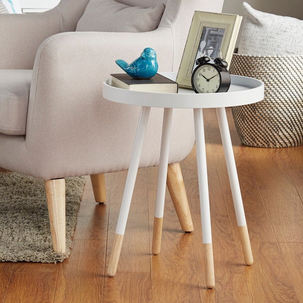 Marcella Paint Dipped Round Spindle Tray Top Side Table