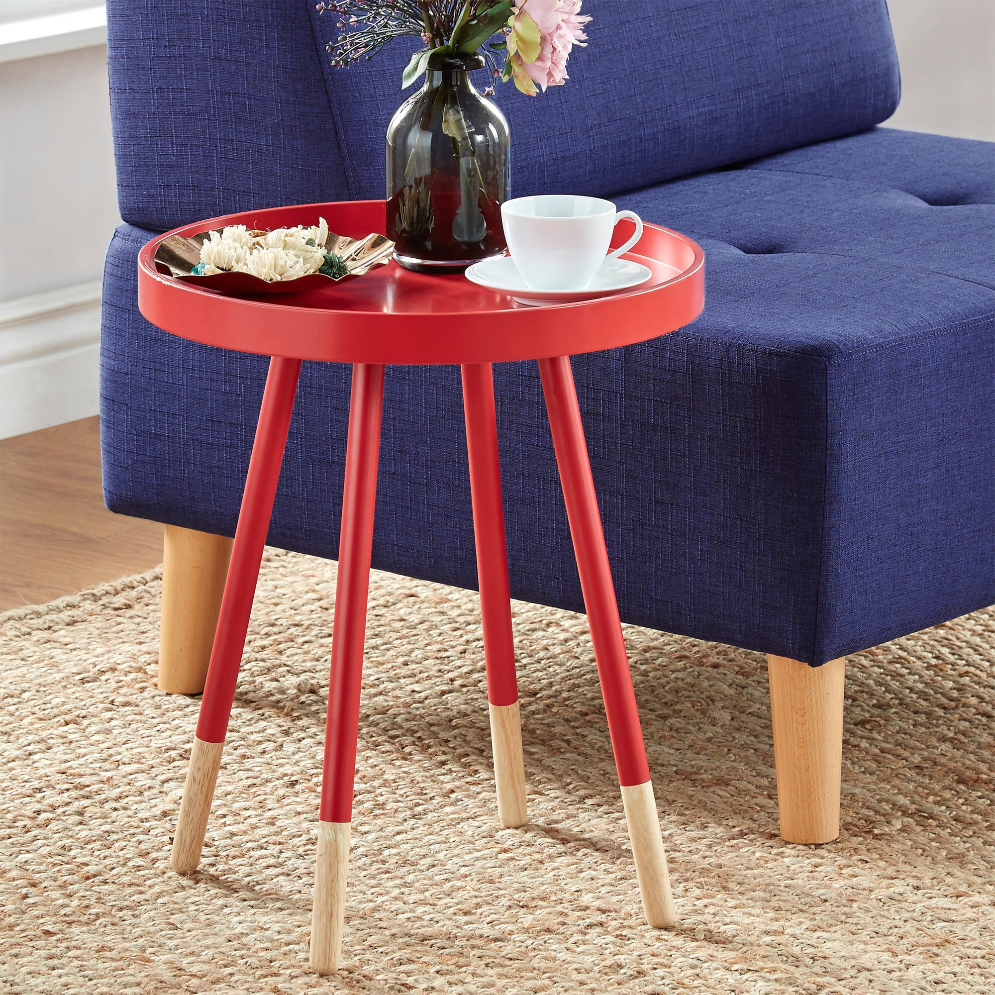 Super Marcella Paint Dipped Round Spindle Tray Top Side Table Inspire Q Modern Machost Co Dining Chair Design Ideas Machostcouk