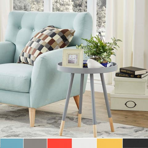 Marcella Paint-dipped Round Spindle Tray-top Side Table by iNSPIRE Q MODERN