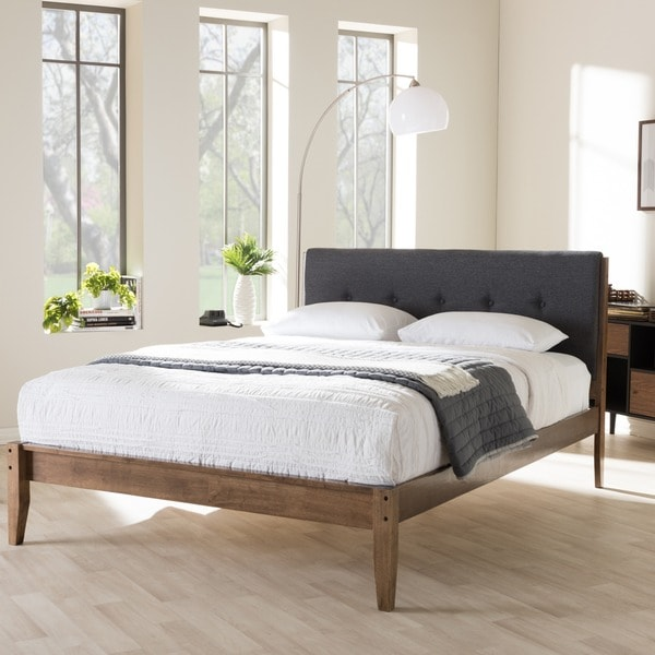 Mid-Century Fabric and Wood Platform Bed by Baxton Studio. Opens flyout.