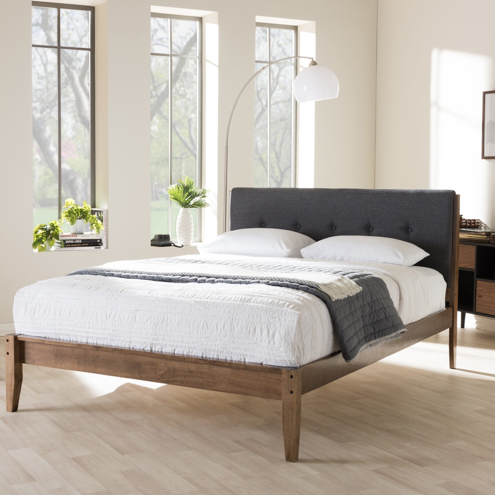 Mid-Century Fabric and Wood Platform Bed by Baxton Studio...