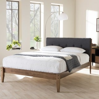 baxton studio kyros mid century modern grey fabric upholstered king or queen size platform bed