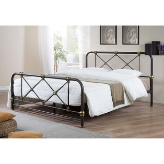 Baxton Studio Astarte Stippled Black and Brass Full or Queen Size Metal Platform Bed