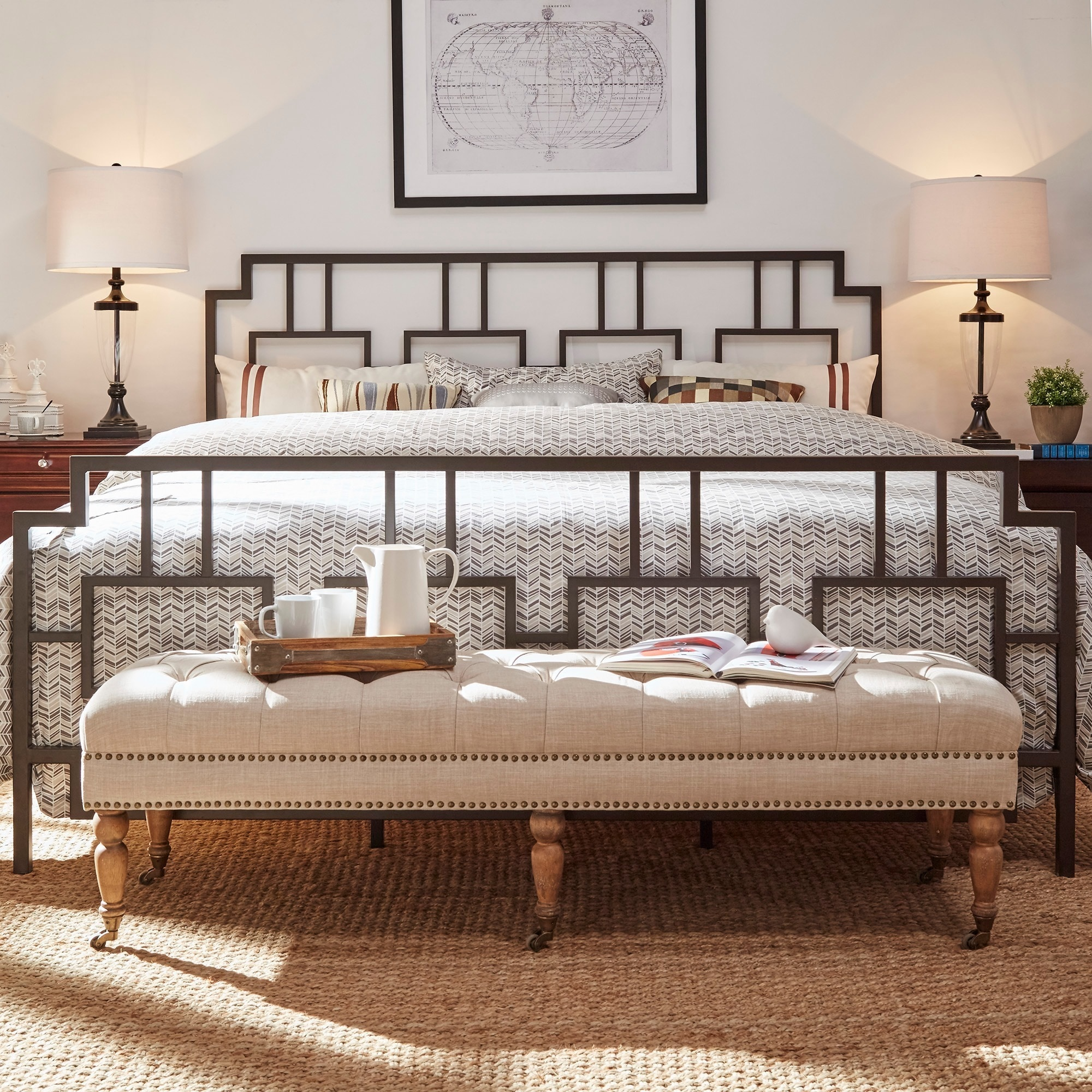 Bordeaux Window Geometric Metal Bed by iNSPIRE Q Classic ...