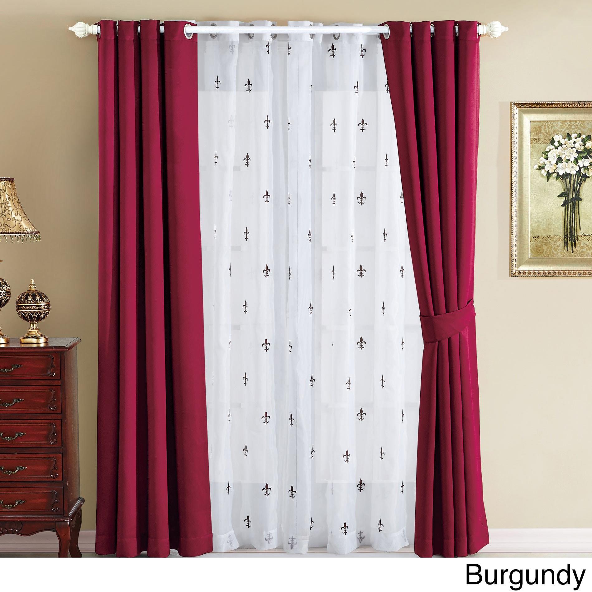 Sea Fleur De Lis Thermal Insulated Blackout Curtains 6 Piece Set