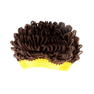Crummy Bunny Small Brown Afro Beanie with Yellow Headband