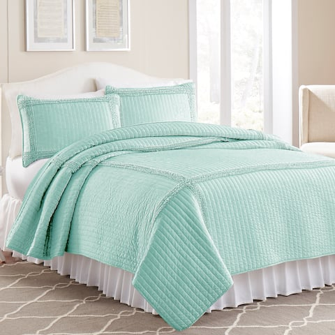 Amraupur Overseas 3-piece Frame Square Solid Coverlet Set