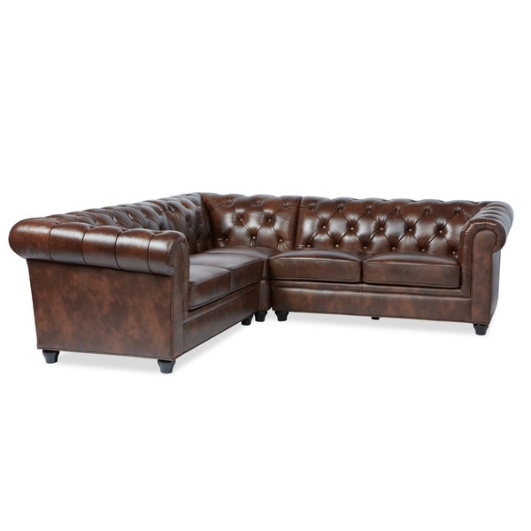 Abbyson Tuscan Tufted Top Grain Leather Piece Sectional Sofa - 3 piece leather sectional sofa
