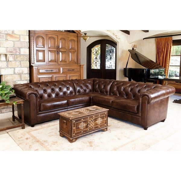 Abbyson Tuscan Tufted Top Grain Leather 3 Piece Sectional