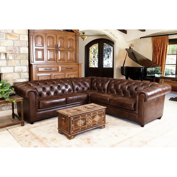 abbyson tuscan tufted top grain leather 3piece sectional sofa