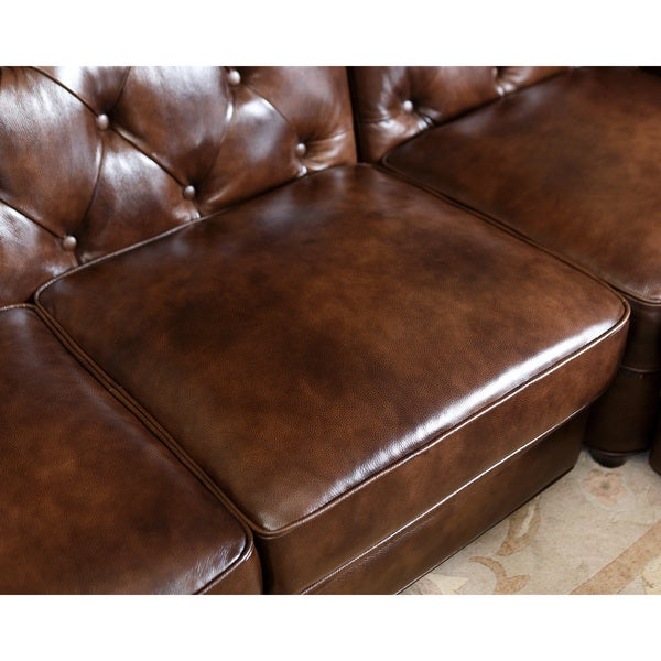 abbyson tuscan tufted top grain leather 3piece sectional sofa free shipping today - 3 Piece Sectional Sofa