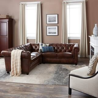 Abbyson Tuscan Tufted Top Grain Leather 3 Piece Sectional Sofa