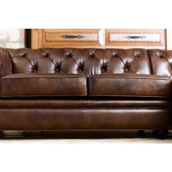 Abbyson Tuscan Tufted Top Grain Leather Chaise Sectional - Free Shipping Today - Overstock.com - 18535062  sc 1 st  Overstock : sofa chaise leather - Sectionals, Sofas & Couches