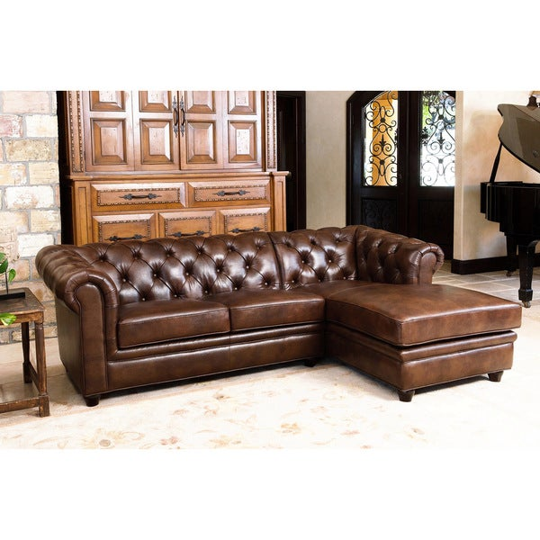 shop abbyson tuscan tufted top grain leather chaise sectional on sale free shipping today. Black Bedroom Furniture Sets. Home Design Ideas
