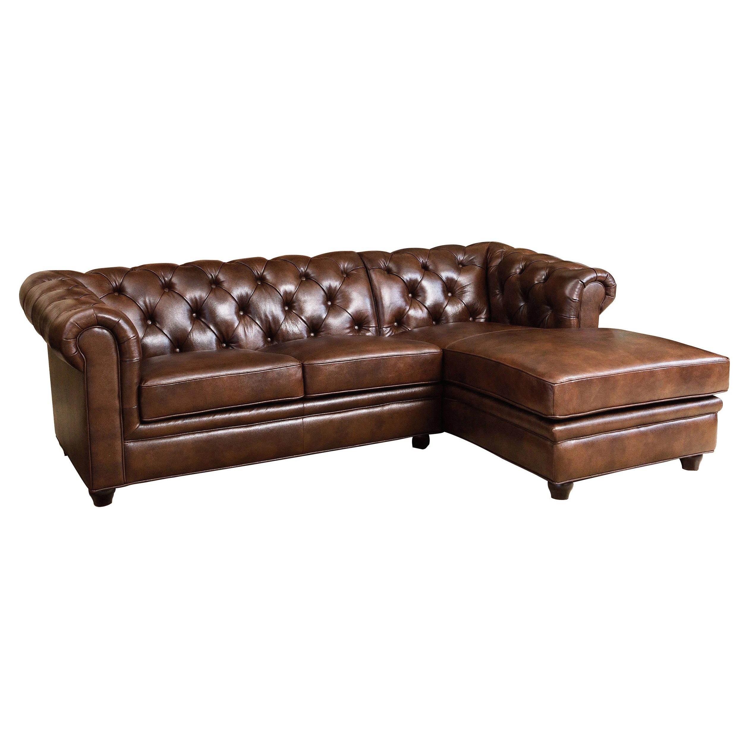Abbyson Tuscan Tufted Top Grain Leather Chaise Sectional