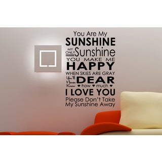 Nice words You Are My Sunshine Wall Art Sticker Decal