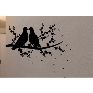 Loving Doves on branch Wall Art Sticker Decal
