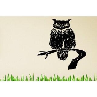 Owl on a branch Wall Art Sticker Decal
