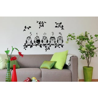 Funny owl on a branch Wall Art Sticker Decal