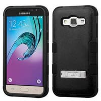 Insten Hard PC/ Silicone Dual Layer Hybrid Rubberized Matte Case Cover with Stand For Samsung Galaxy J3