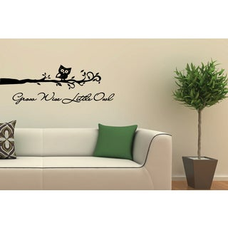 Pretty Owl on Branch quote Wall Art Sticker Decal