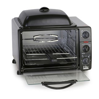 Elite Cuisine ERO-2008S 23-liter Toaster Oven with Rotisserie and Grill/Griddle Top