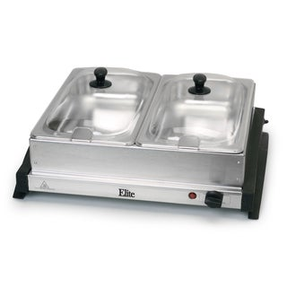 Elite Gourmet EWM-6122 Dual Tray Buffet Server, Stainless Steel