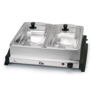 Elite Gourmet EWM-6122 Dual Tray Buffet Server, Stainless Steel