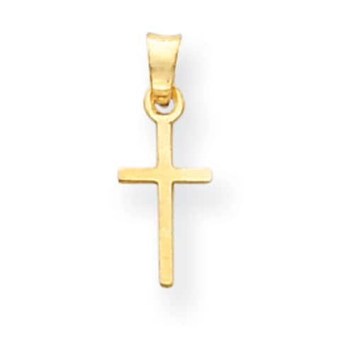 Versil 14 Karat Yellow Gold Cross Charm With 18-inch Chain