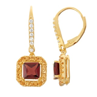 Gioelli Diamond Accent Goldplated Silver Garnet and Citrine Leverback Earrings