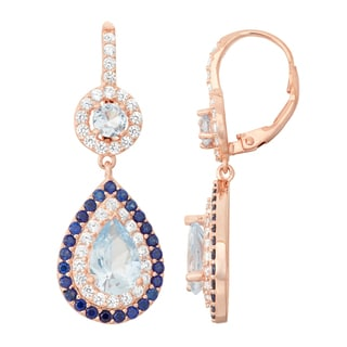 Gioelli Rose Goldplated Aqua, Sapphire and White Sapphire Double Halo Earrings