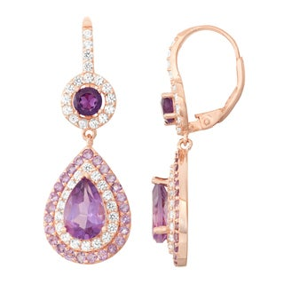 Gioelli Rose Goldplated Silver Amethyst and White Sapphire Double Halo Earrings