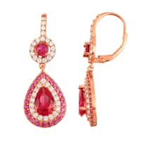 Gioelli Rose Goldplated Ruby and White Sapphire Double Halo Earrings