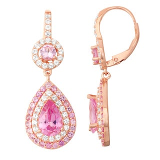 Gioelli Rose Goldplated Pink Sapphire and White Sapphire Double Halo Earrings