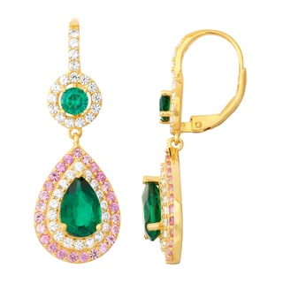 Gioelli Goldplated Emerald, Pink Sapphire and White Sapphire Double Halo Earrings