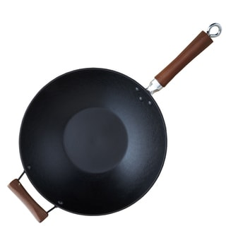 IMUSA GKG-61021 14-inch Red Light Cast Iron Pre-seasoned Wok with Wood Handle