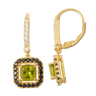Gioelli Diamond Accent Goldplated Silver Peridot and Black Spinel Leverback Earrings