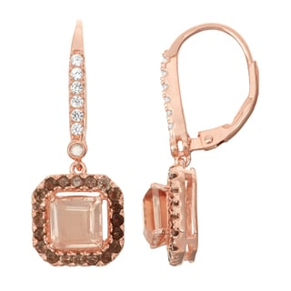 Gioelli Diamond Accent Rose Goldplated Silver Morganite Quartz and Smoky Quartz Leverback Earrings