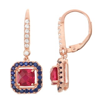 Gioelli Diamond Accent Goldplated Silver Ruby and Sapphire Leverback Earrings
